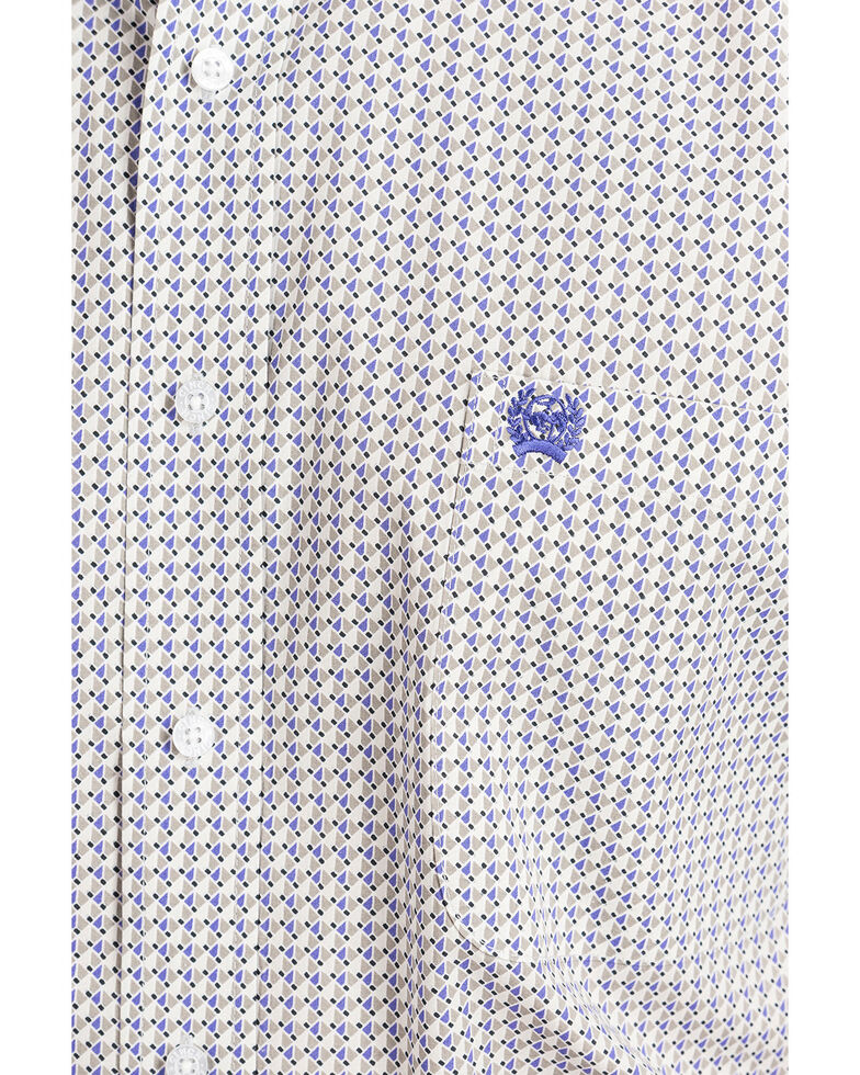 Cinch Men's Grey Dot Geo Print Long Sleeve Western Shirt , Grey, hi-res