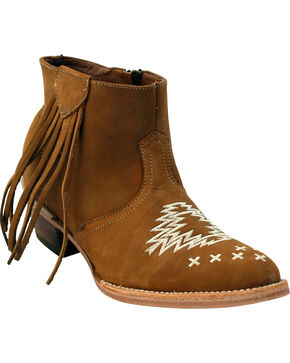 Ferrini Women's Fringe Embroidered Short Western Boots - Round Toe, Tan, hi-res