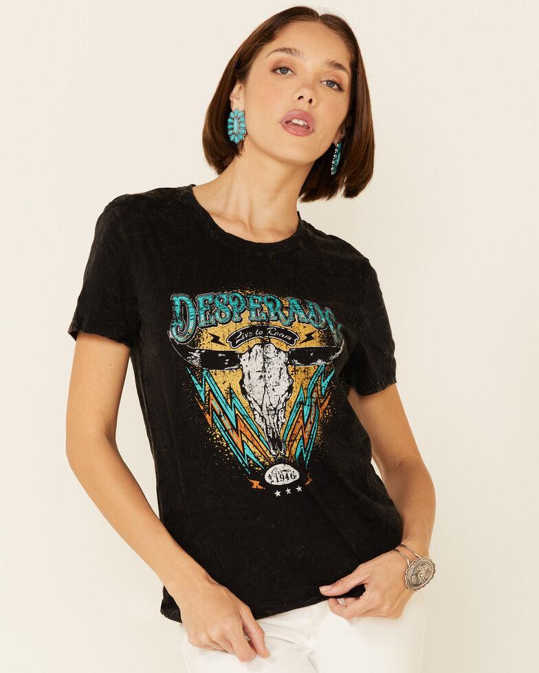 Rock & Roll Denim Women's Black Mineral Wash Desperado Graphic Short Sleeve Tee , Black, hi-res