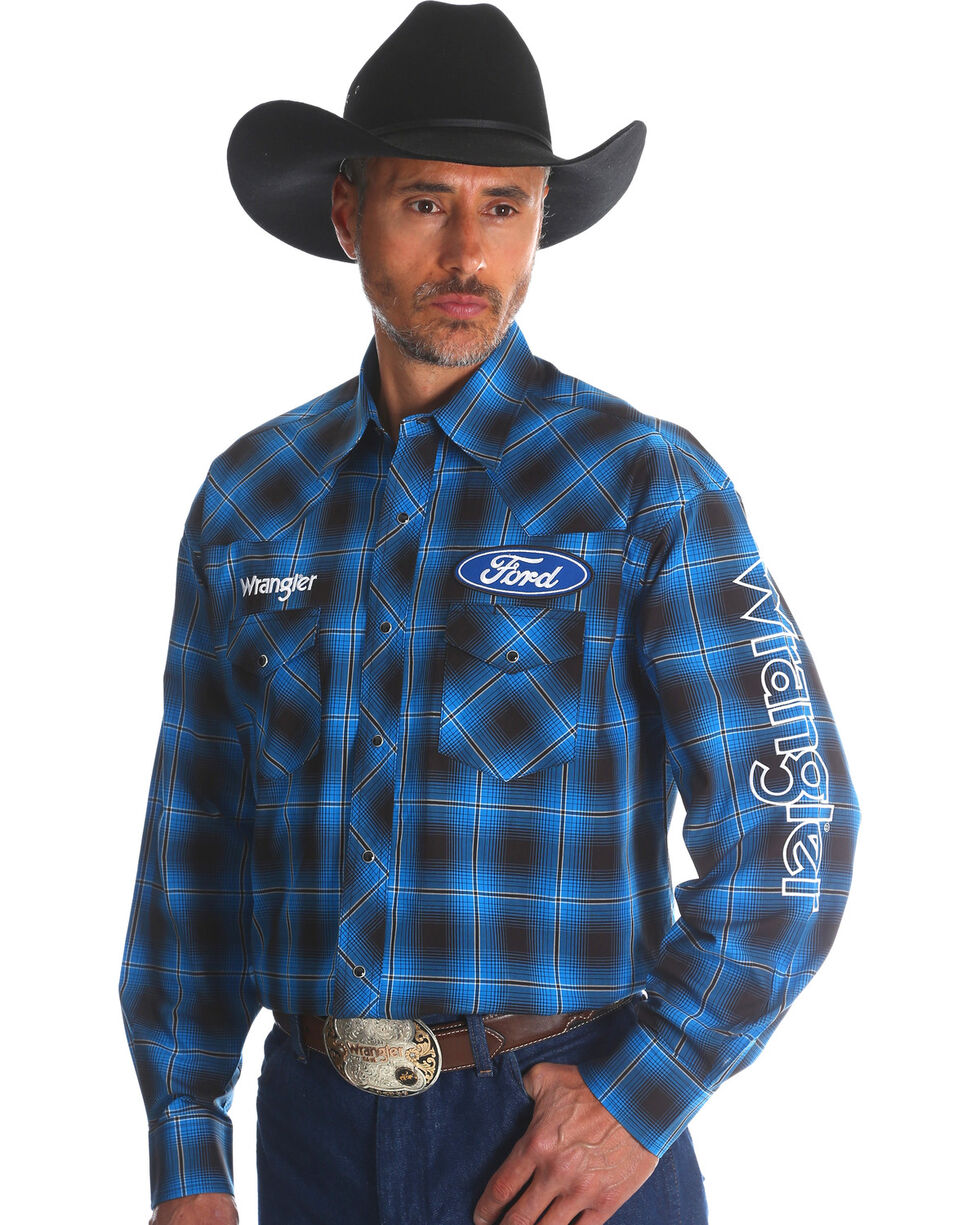 Wrangler Men's Ford Plaid Western Logo Shirt - Big & Tall, Blue, hi-res