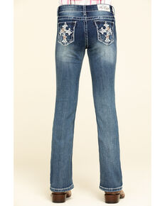 Grace in LA Girls' Medium Tropical Flower Cross Bootcut Jeans, Blue, hi-res