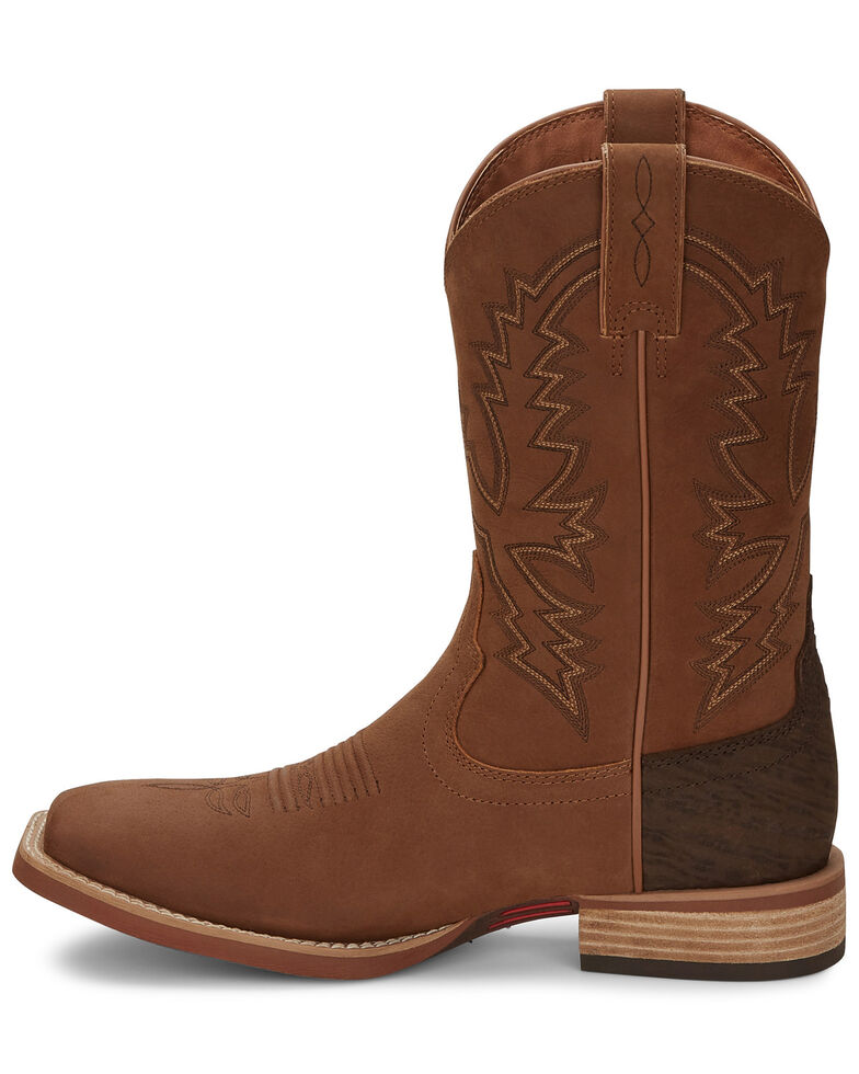 Justin Men's Tallyman Tan Western Boots - Wide Square Toe, Tan, hi-res