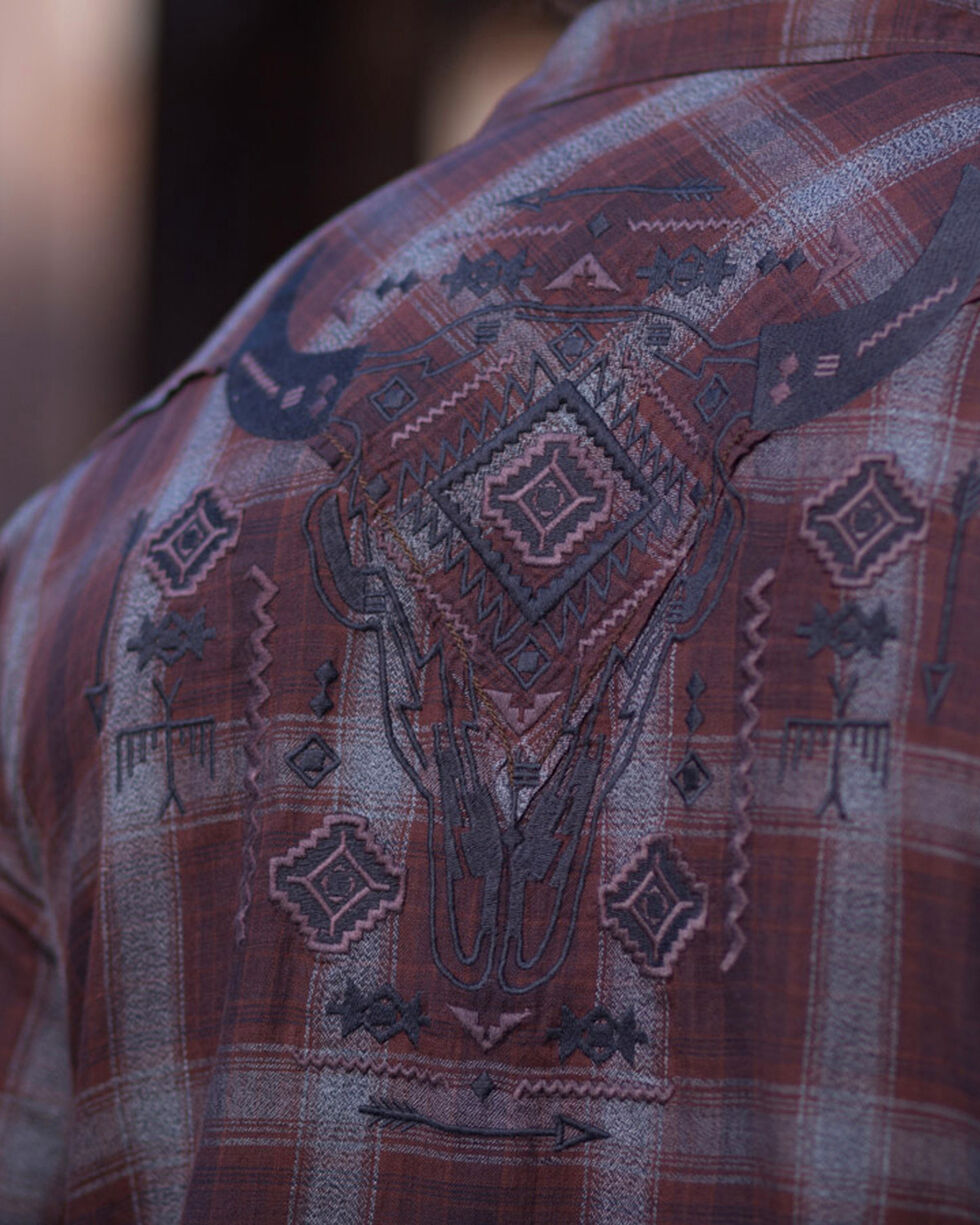 Ryan Michael Men's Crow Embroidered Slub Plaid Shirt , Black, hi-res