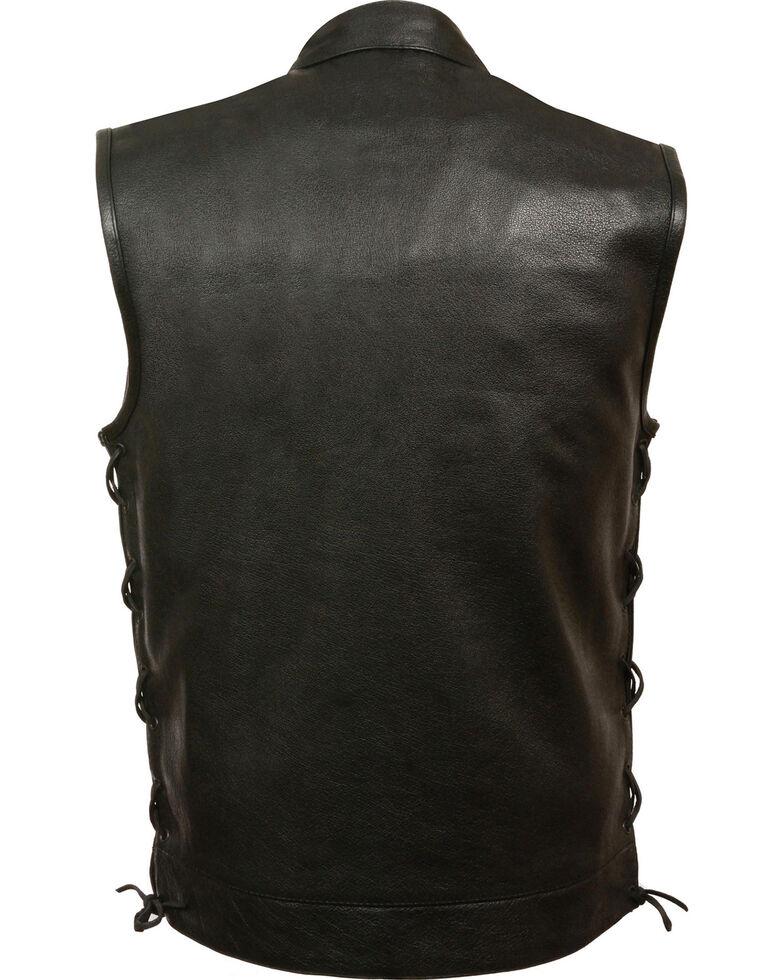Milwaukee Leather Men's Side Lace Snap/Zip Front Club Style Vest - Big - 3X, Black, hi-res