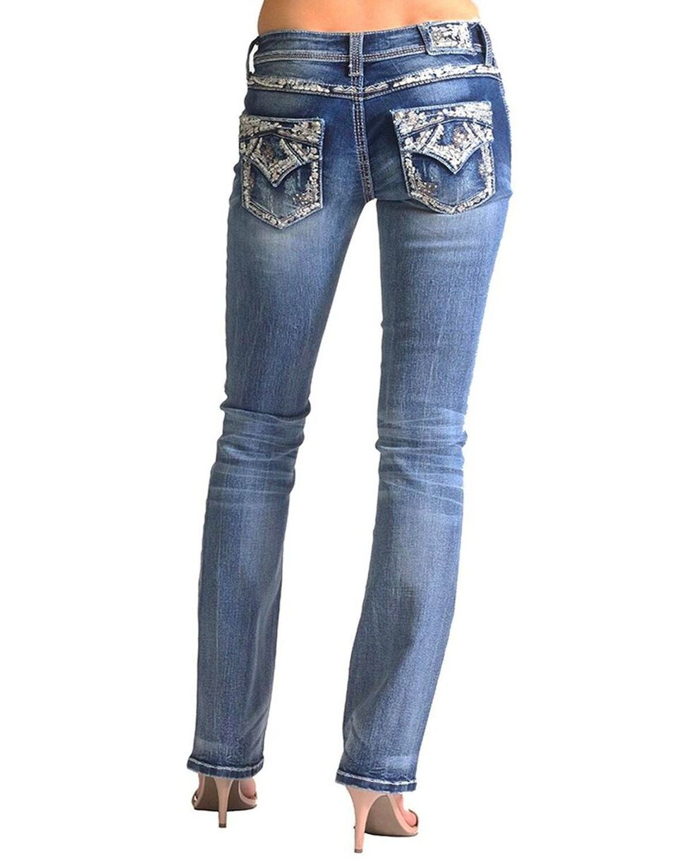 Grace In LA Women's Embellished Pocket Easy Boot Cut Jeans , Blue, hi-res