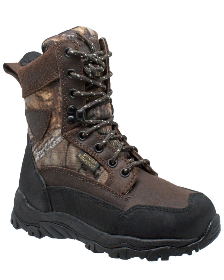 Ad Tec Boys' Waterproof Hunting Boots - Round Toe, Dark Brown, hi-res