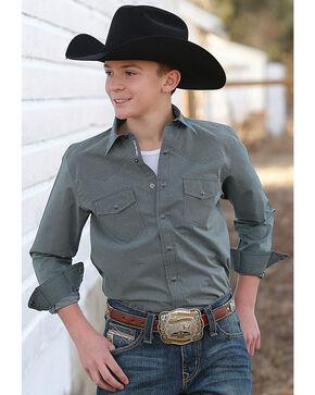 Cinch Boys' Printed Plain Weave Long Sleeve Western Snap Shirt, Teal, hi-res
