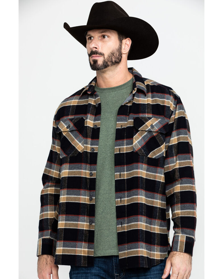 Pendleton Men's Soft Burnside Large Black Plaid Long Sleeve Flannel Shirt , Black, hi-res