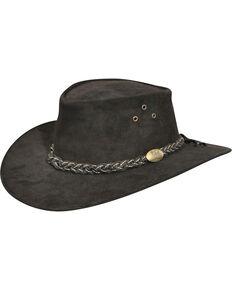 Jacaru Men's Wallaroo Suede Outback Hat, Black, hi-res