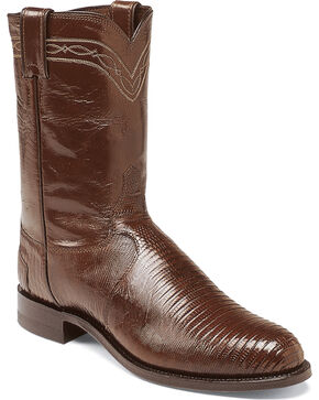 Justin Men's Iguana Lizard Western Boots, Chocolate, hi-res