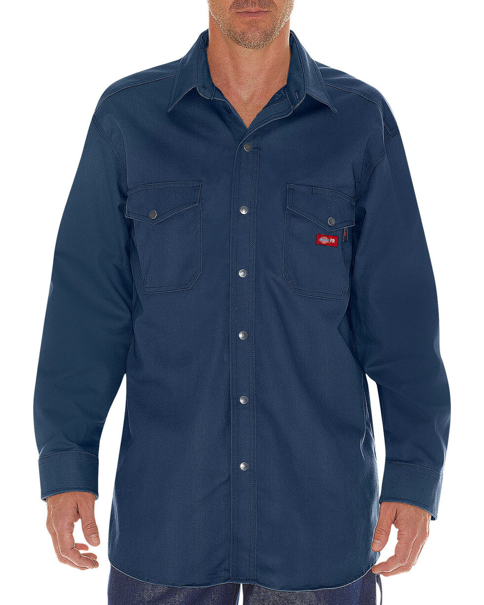 Dickies Men's Flame Resistant Long Sleeve Twill Snap Shirt - Big & Tall, Navy, hi-res