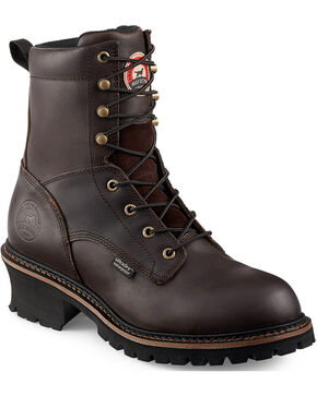"Irish Setter by Red Wing Shoes Men's Mesabi Dark Brown Insulated Logger 8"" Work Boots - Steel Toe , Brown, hi-res"