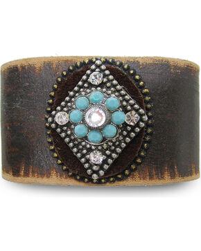 Cowgirl Confetti Women's Brown Mystic Diamond Leather Cuff , Dark Brown, hi-res