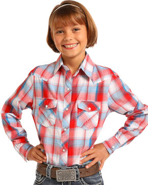 Panhandle Girls' Red White & Blue Plaid Long Sleeve Snap Shirt, Red/white/blue, hi-res