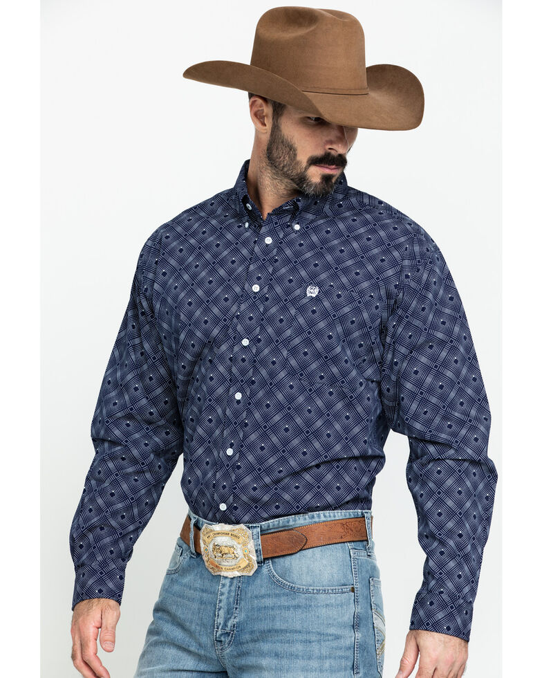 Cinch Men's Navy Diamond Dot Geo Print Long Sleeve Western Shirt , Navy, hi-res