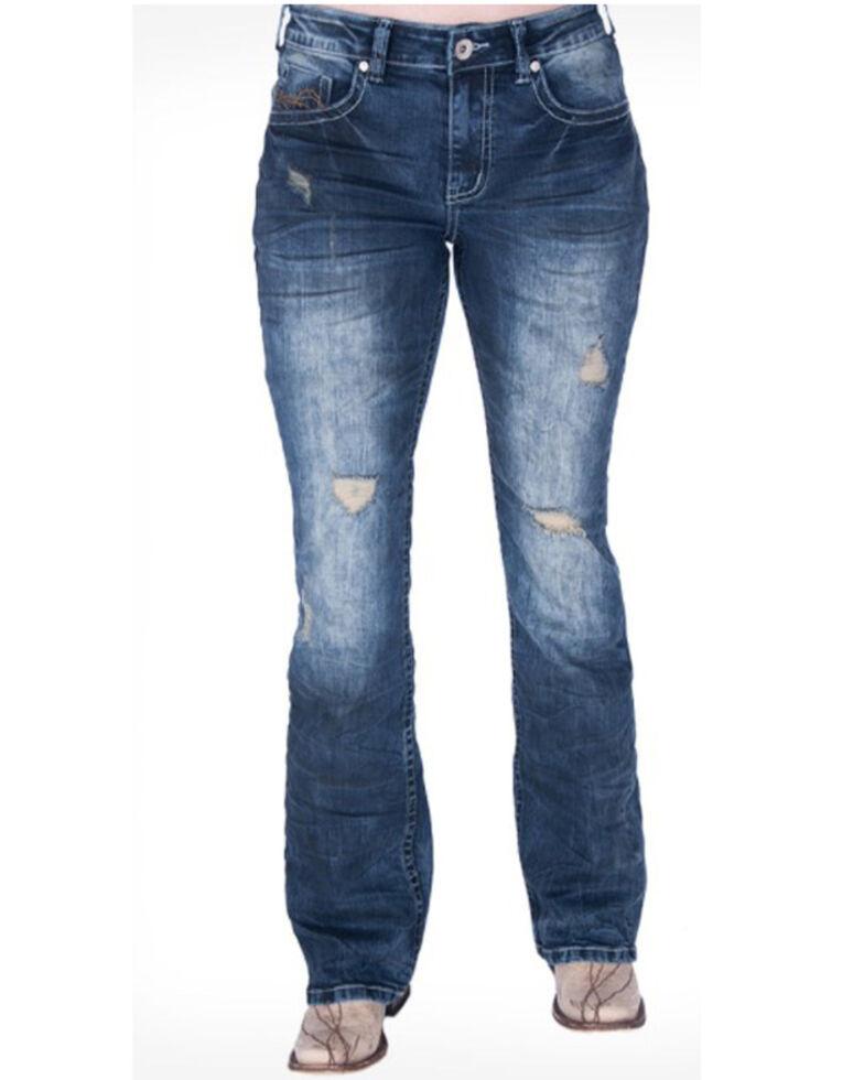Cowgirl Tuff Women's Down N' Dirty Bootcut Jeans , Blue, hi-res