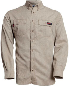 Tecgen Men's FR Deluxe Work Shirt - Big , Tan, hi-res
