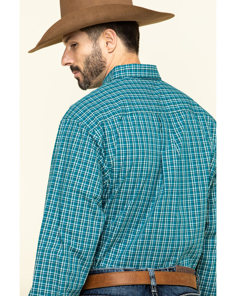 Cinch Men's Teal Large Plaid Button Long Sleeve Western Shirt , Teal, hi-res