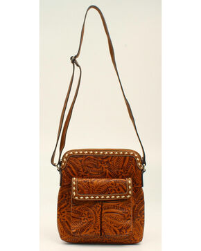 Blazin' Roxx Women's Tooled Crossbody, Tan, hi-res