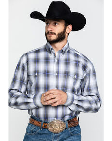 Roper Men's Amarillo Grey Shadow Plaid Long Sleeve Western Shirt , Grey, hi-res