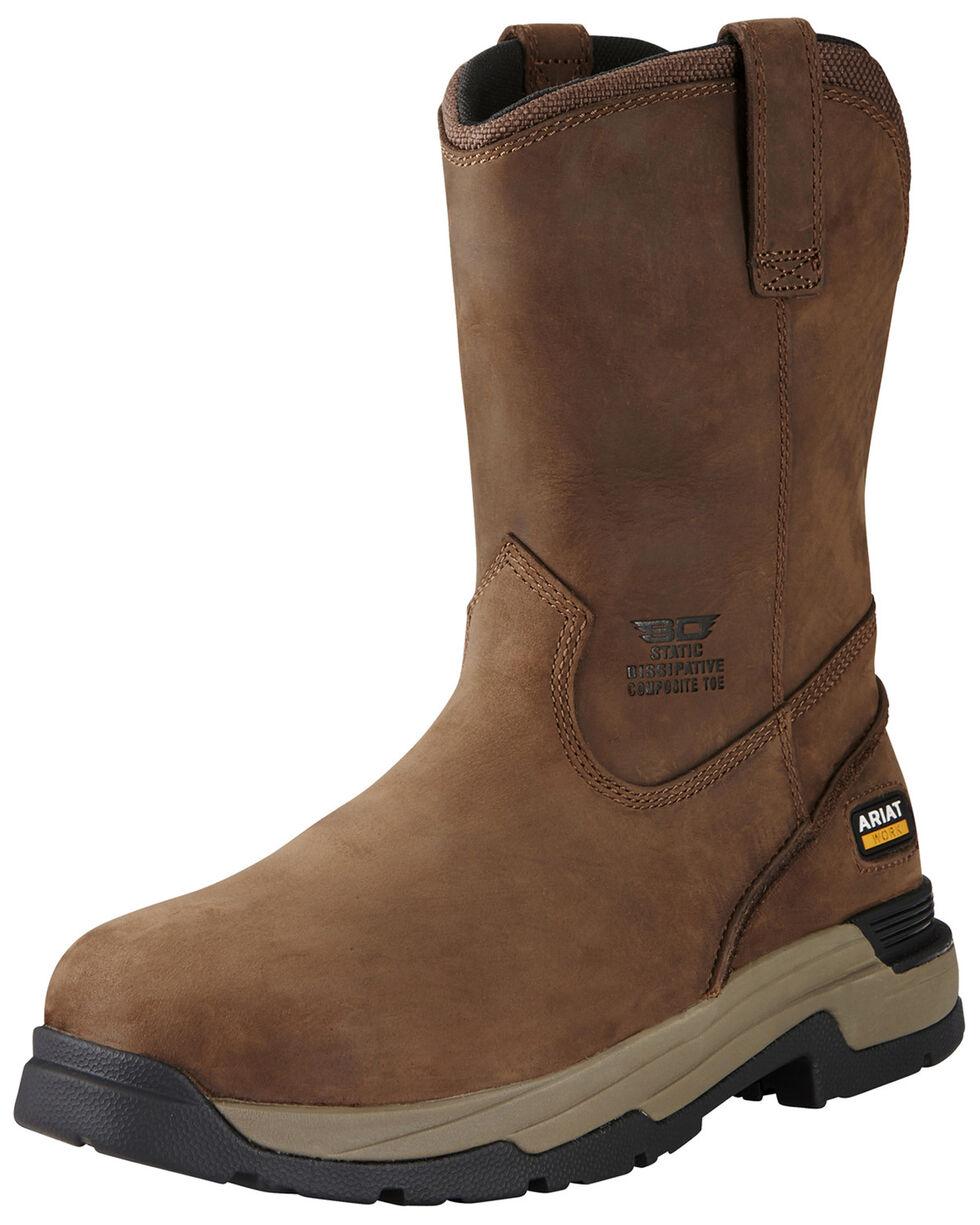 Ariat Men's Mastergrip Pull Western Work Boots - Composite Toe, Brown, hi-res