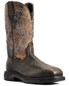 Ariat Men's Woodsmoke Workhog Western Work Boots - Carbon Toe, Brown, hi-res