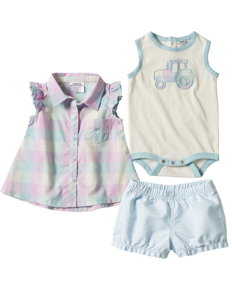 Carhartt Infant Girls' Light Blue Plaid 3-Piece Shirt & Short Set , Light Blue, hi-res