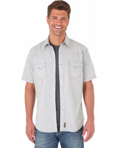 Wrangler Retro Men's Grey Short Sleeve Western Shirt , Light Grey, hi-res