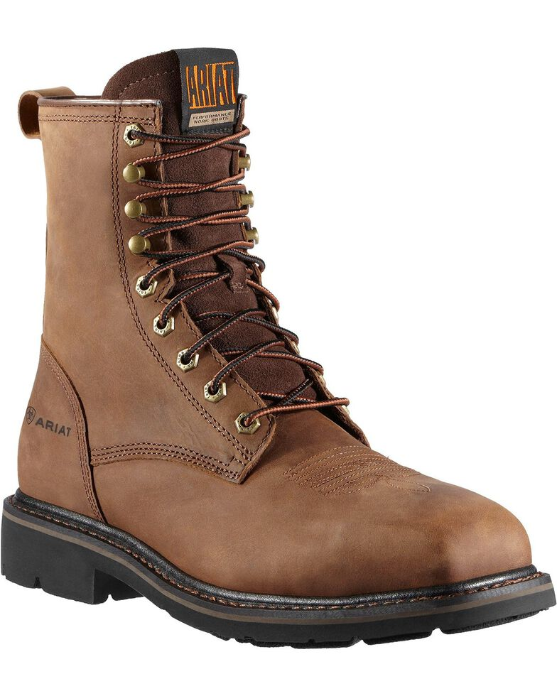 "Ariat Men's Cascade 8"" Steel Toe Lace-Up Work Boots, Brown, hi-res"