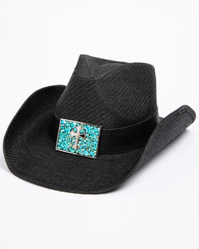 Shyanne Women's Roxanne Black Cross Concho Hat, Black, hi-res
