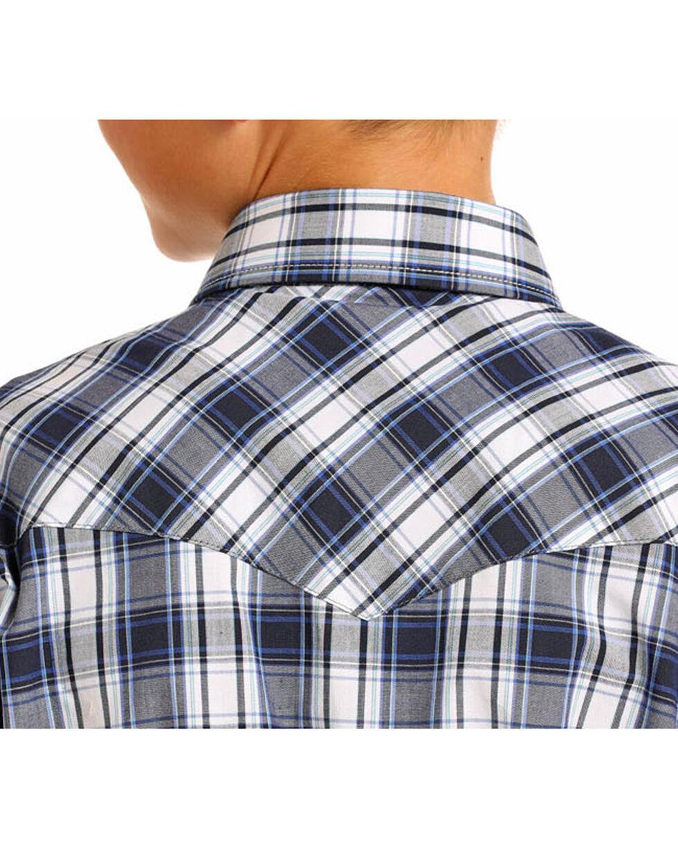 Rock & Roll Cowboy Boys' Blue Plaid Long Sleeve Snap Shirt, , hi-res