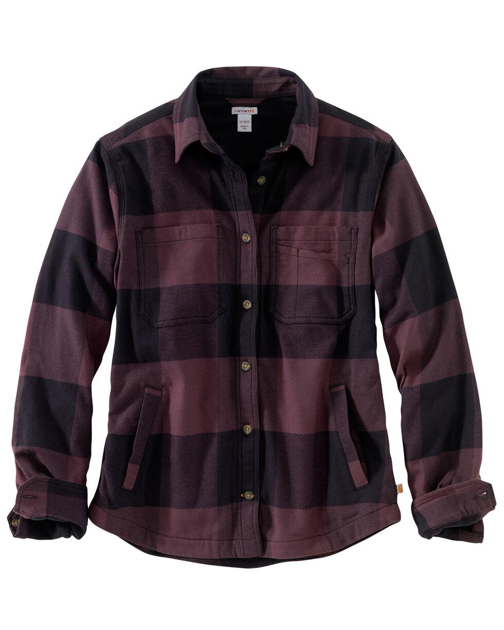 Carhartt Women's Rugged Flex Hamilton Fleece-Lined Flannel Work Shirt, Wine, hi-res