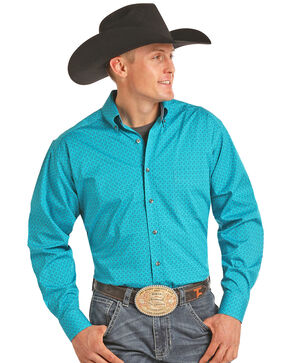Tuf Cooper Men's Print Long Sleeve Shirt , Aqua, hi-res