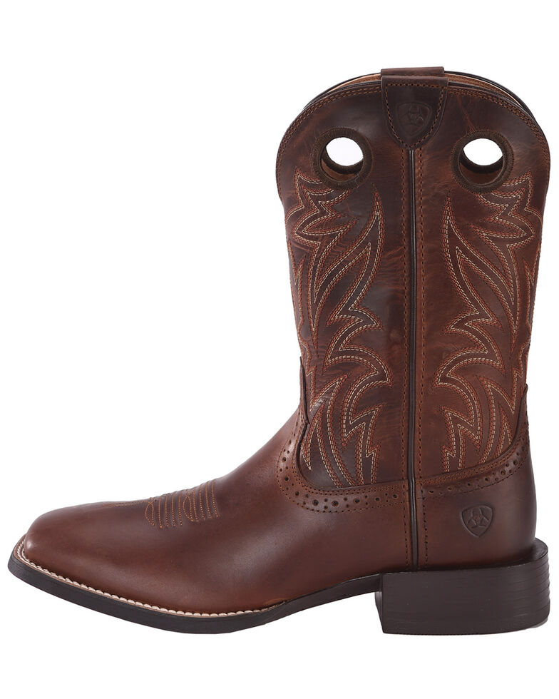 Ariat Sport Men's Sidebet Performance Cowboy Boots - Wide Square Toe, Brown, hi-res