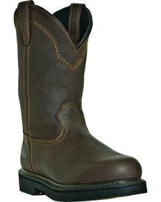 "McRae Men's 11"" Pull-On Steel Toe Work Boots, Brown, hi-res"