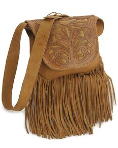 Kobler Tooled Fringe Leather Handbag, Beige, hi-res