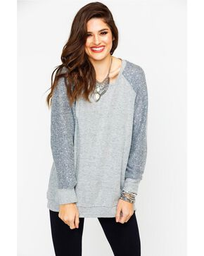 Eyeshadow Women's Contrast Sequin Long Sleeve Top , Grey, hi-res
