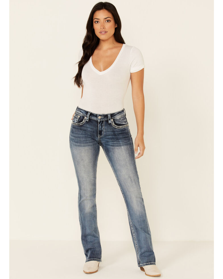Grace in LA Women's Fleur De Lis Bootcut Jeans, Blue, hi-res
