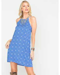 Roper Women's Blue Tile Print Trapeze Dress , Blue, hi-res