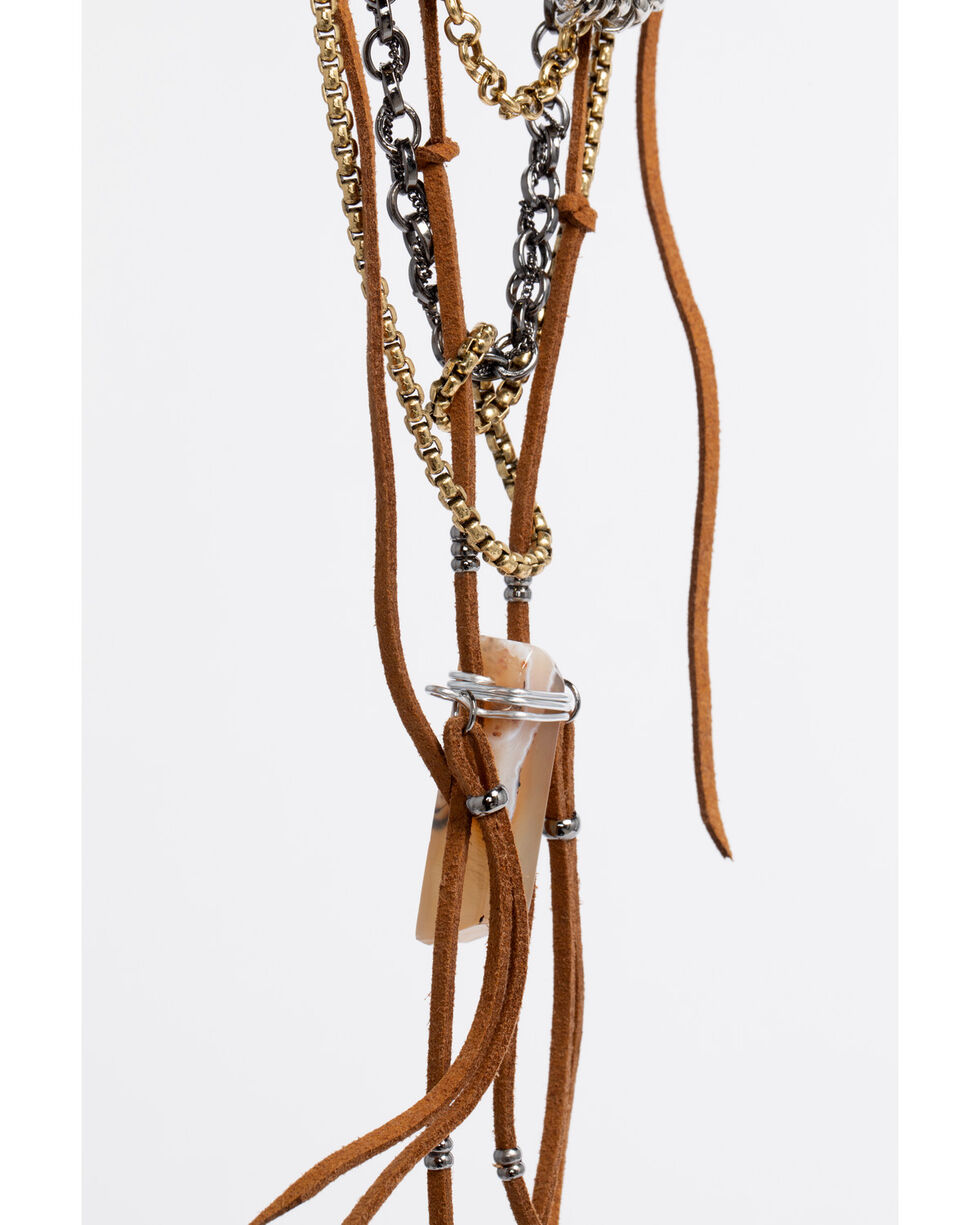 Lost & Found Women's Chain, Fringe, and Stone Necklace , Brown, hi-res