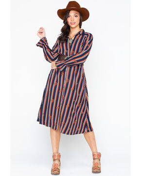 Miss Me Women's Striped Button Down Shirt Dress , Black/brown, hi-res