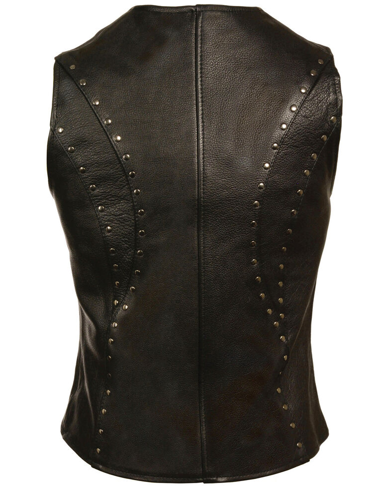 Milwaukee Leather Women's Studded Zip Front Vest, Black, hi-res