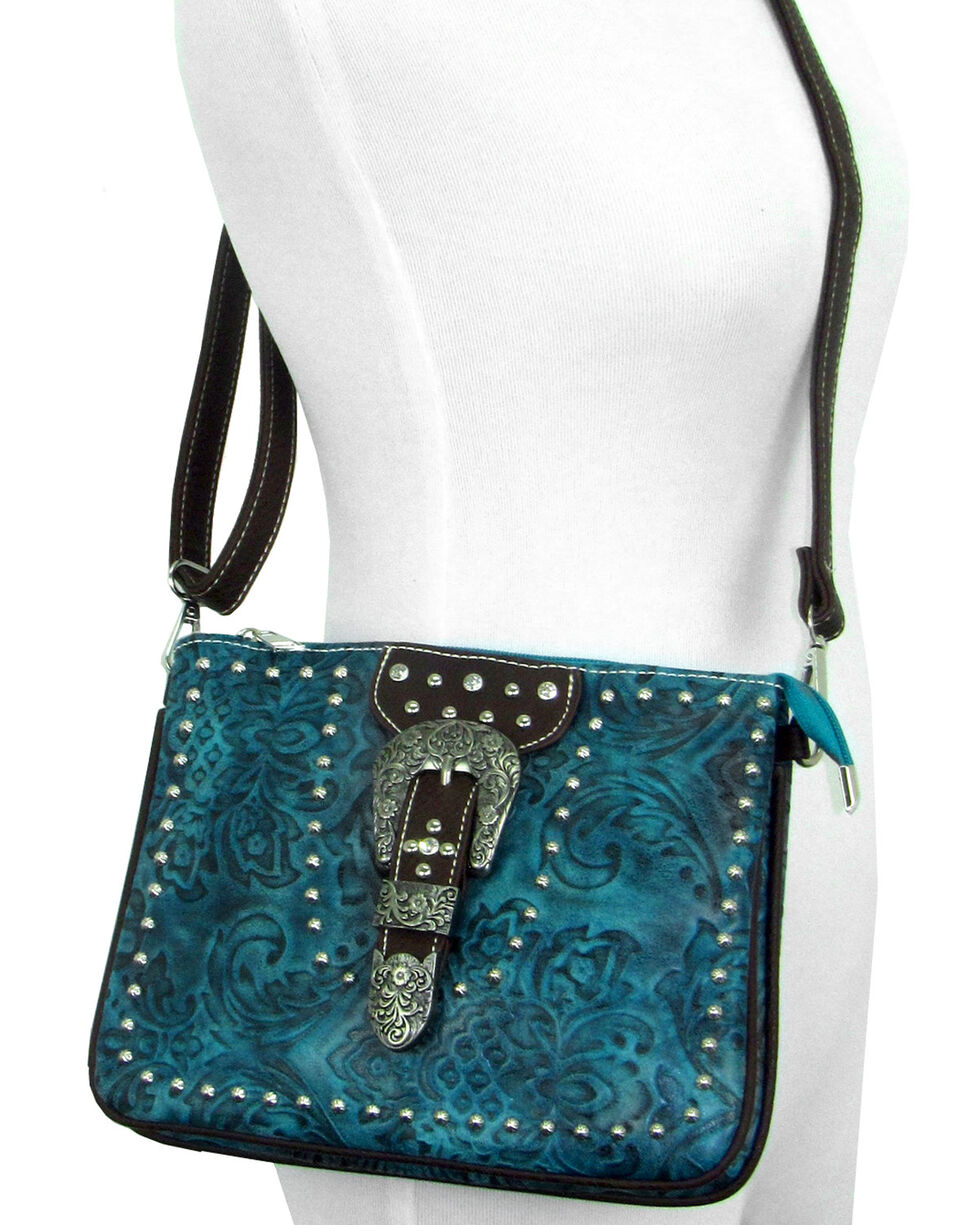Savana Women's Turquoise Faux Leather Tooled Crossbody Bag , Turquoise, hi-res