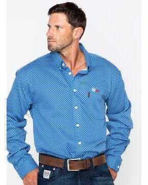 Cinch WRX Men's FR Royal Print Lightweight Button Down Work Shirt, Royal Blue, hi-res