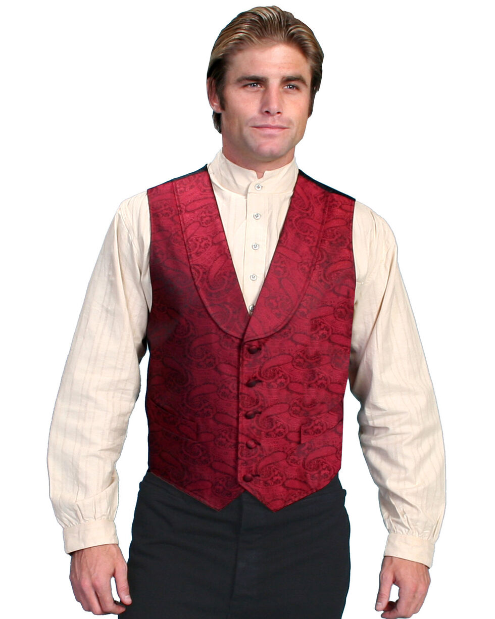 Rangewear by Scully Paisley Print Round Collar Vest - Big & Tall, Red, hi-res