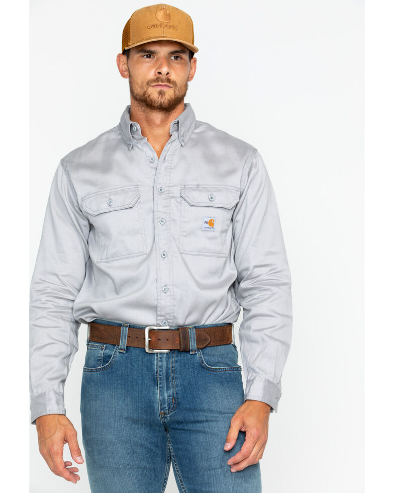 Carhartt Men's Flame Resistant Solid Twill Long Sleeve Work Shirt, Grey, hi-res