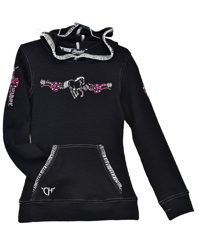 Cowgirl Hardware Girls' Embroidered Floral Horse Waffle-Knit Hoodie , Black, hi-res
