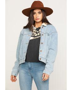 Wrangler Modern Women's 80s Sherpa Lined Denim Jacket , Blue, hi-res