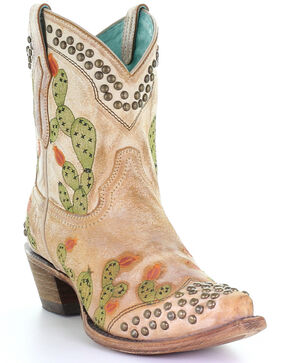 Corral Women's Nopal Embroidery Western Booties - Snip Toe, Brown, hi-res