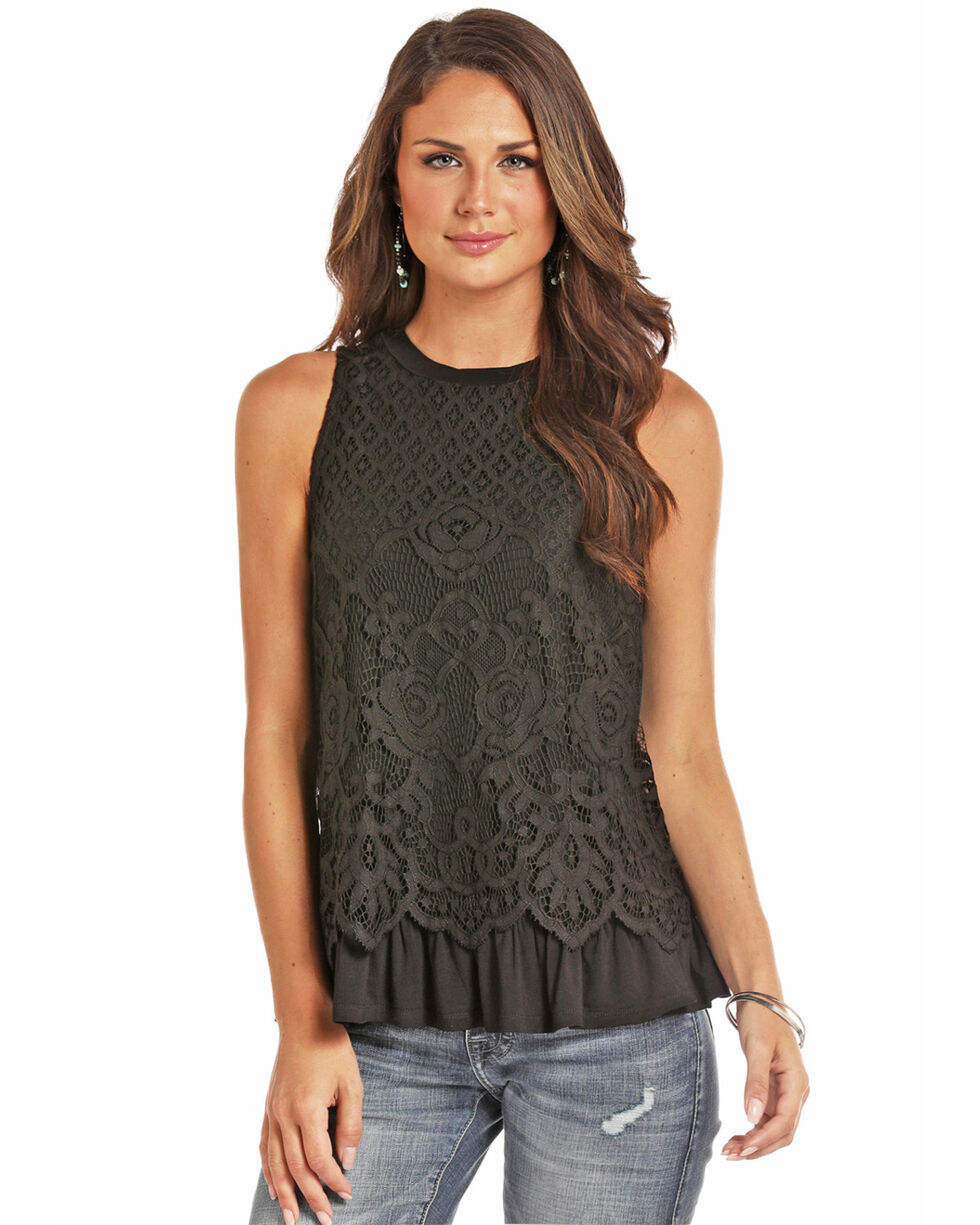 Rock & Roll Cowgirl Women's Black Lace Ruffle Top, , hi-res